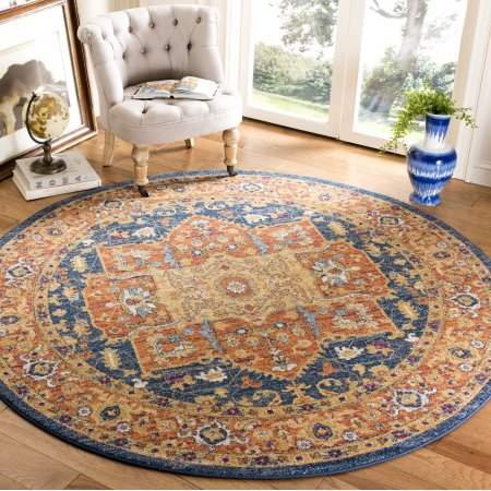 Home Blue Area Rugs Round Carpets