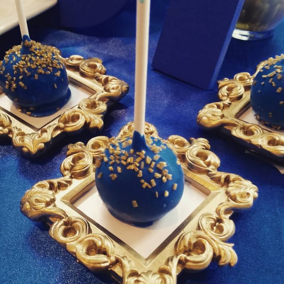 Blue And Gold Cake Pops. These Were For A Royal Themed