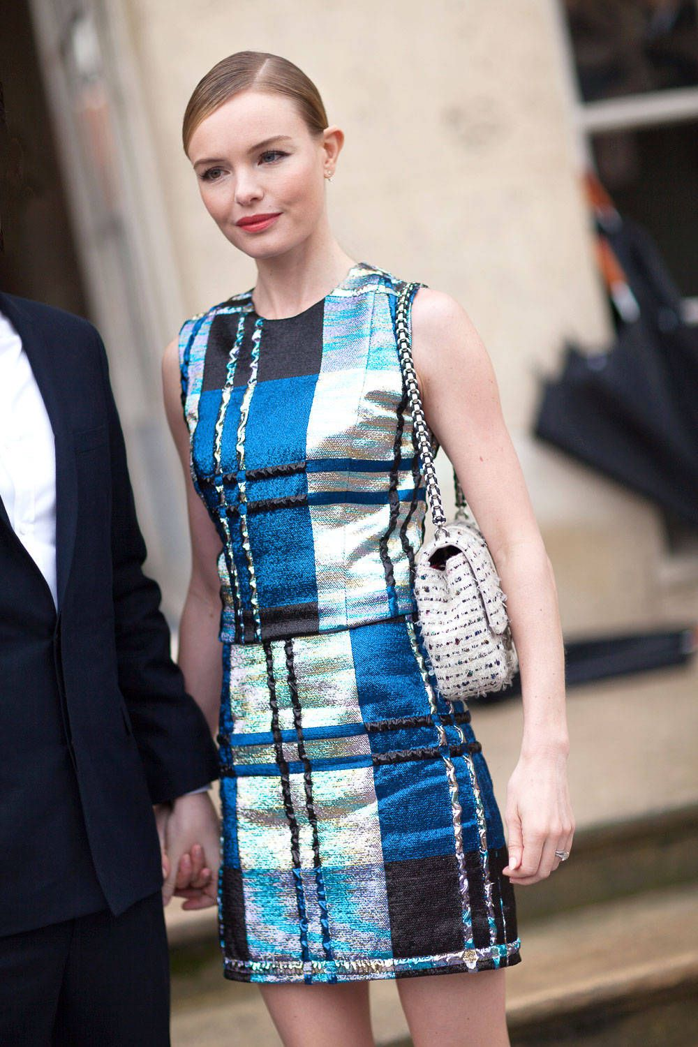 Kate Bosworth in Chanel.  Street Style - Street Style Haute Couture Spring 2014 - Harper's BAZAAR