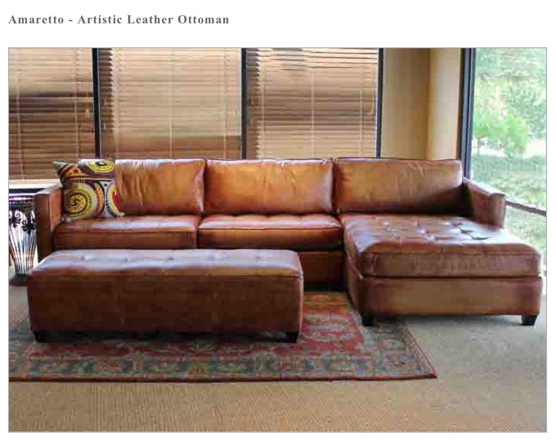 Artistic Leather Amaretto Sofa Ottoman Town Country Leather