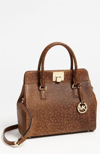 15db6fbfa527 MICHAEL Michael Kors 'Astrid - Large' Ostrich Embossed Leather Satchel  available at #Nordstrom