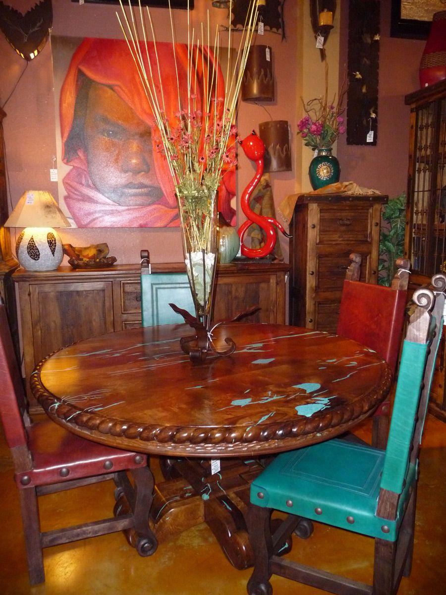 Turquoise inlaid Mesquite table | Southwestern Decor ...