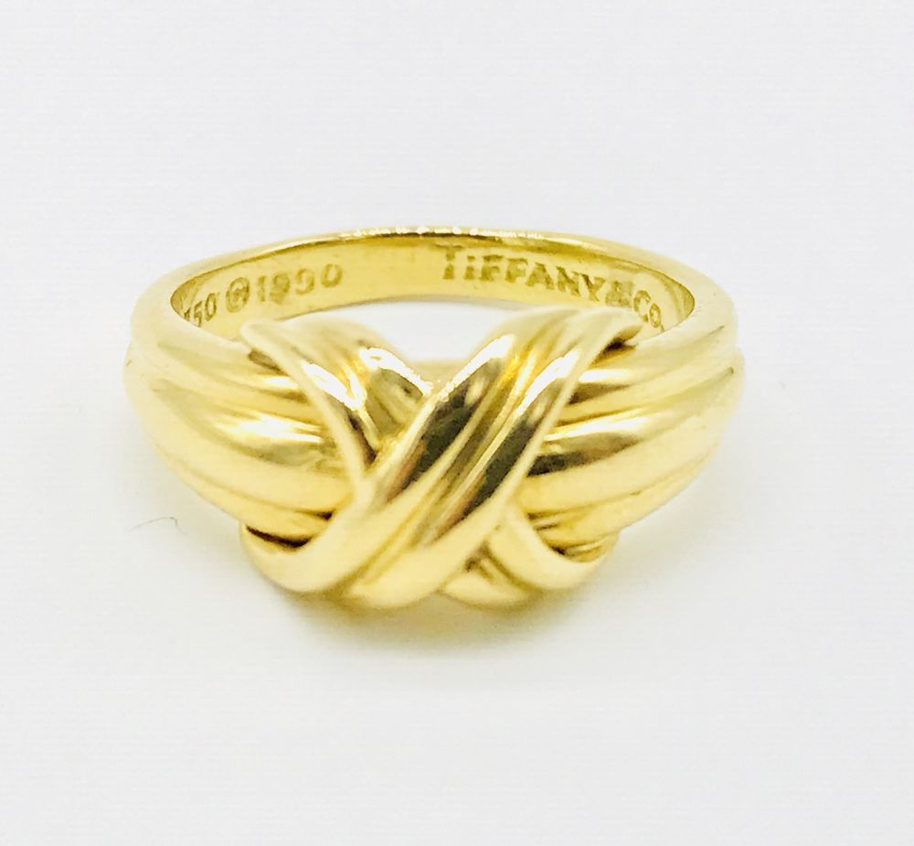 bbfa44af1 Tiffany & Co. X Crossover Grooved Ring in 18k Yellow Gold Size 6 1/4 # TiffanyCo #Crossover