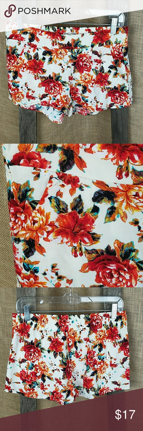 """Urban Outfitters KIRRA M rose floral summer shorts Urban Outfitters KIRRA M rose floral summer shorts with pockets.  Waist side to side: 15.5"""" Length: 11.5"""" Urban Outfitters Shorts"""