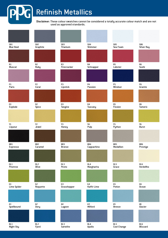 Ppg Auto Paint Color Charts : paint, color, charts, Color, Paint, Chart,, Colors,, Automotive