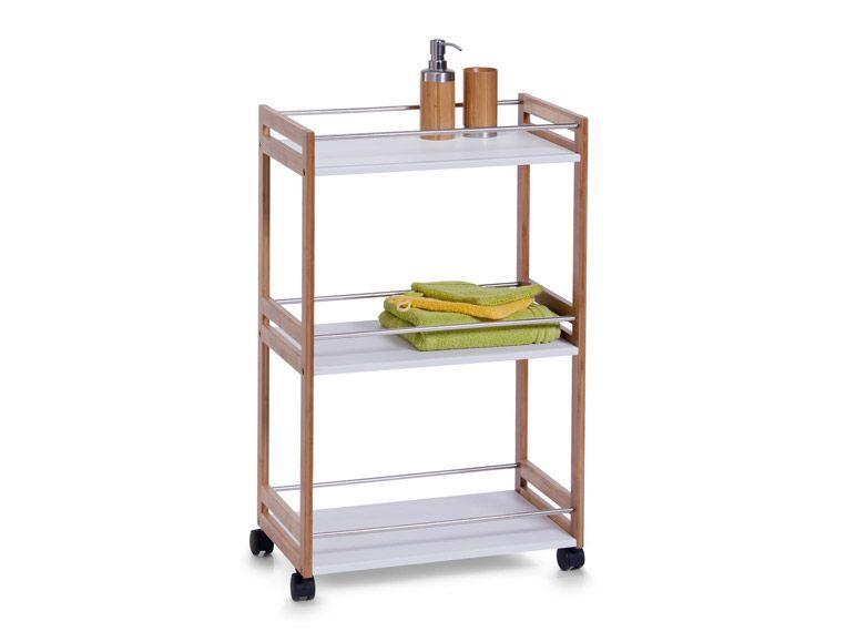Zeller Bad-Rollwagen, weiß, Bamboo\/MDF, 51x81x30 cm 1 Bathroom - badezimmer rollwagen