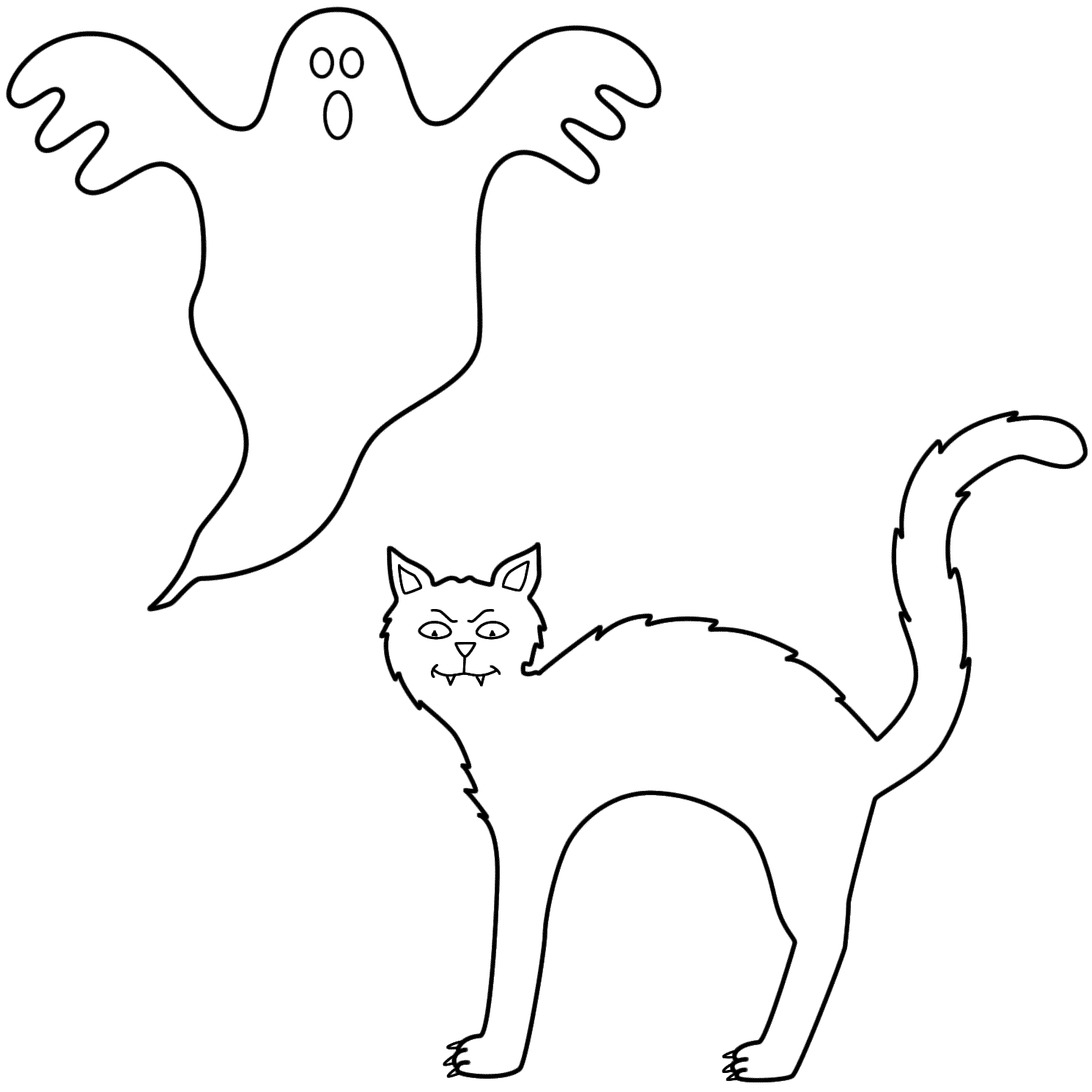 Good Ghost And Cat Halloween Coloring Pages
