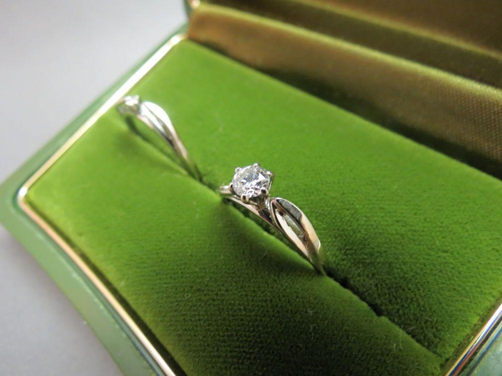 14K White Gold Ring Wedding Set Art Deco Size 6 5 Starfire