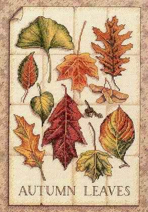Autumn Leaves Chart Needlework Embroidery DIY Counted Cross Stitch Pattern