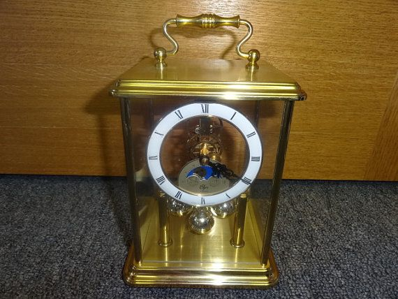 ITEM SOLD!  Elgin Quartz Carriage Ball Moving Pendulum Moon Phase Mantle Clock  by Antiquescove, $100.00