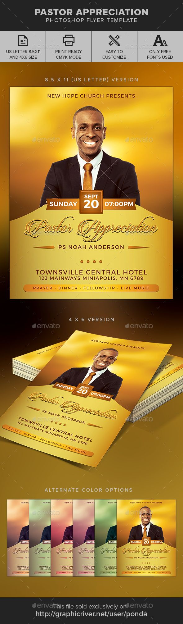 Pastor Appreciation Church Flyer  Pastor Appreciation And Churches