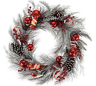 "22/"" Red /& Gold Ornament Wreath QVC H209583"