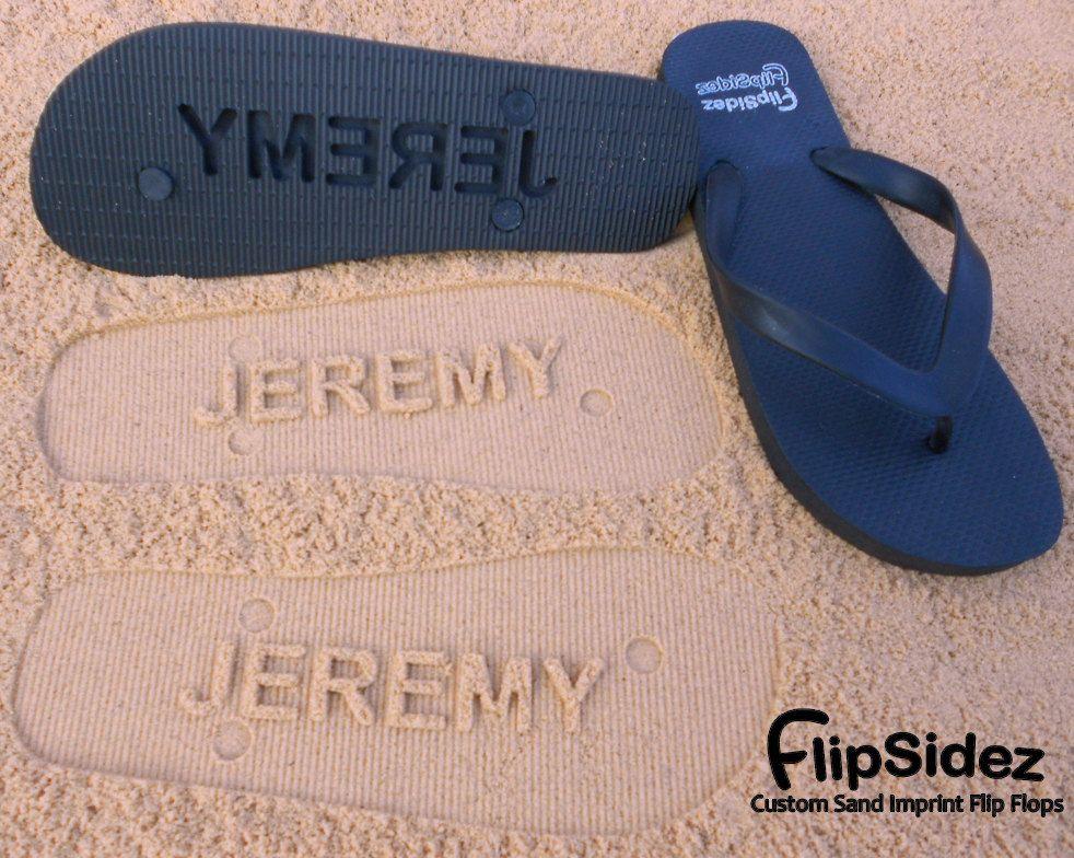 219aa212aabad8 Just Married Flip Flops - Custom Sand Imprint Sandals for Beach Weddings