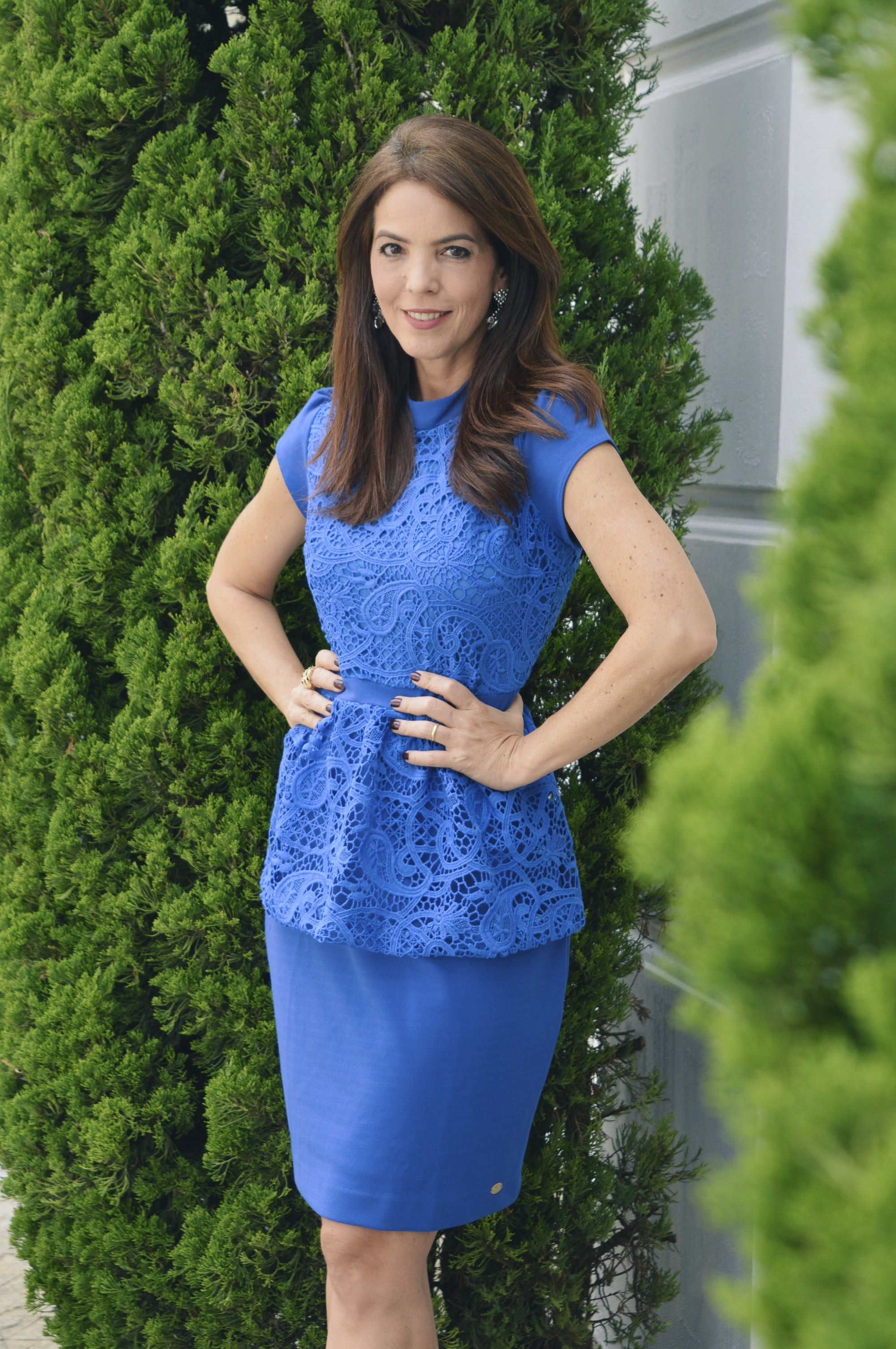 Vestido azul renda