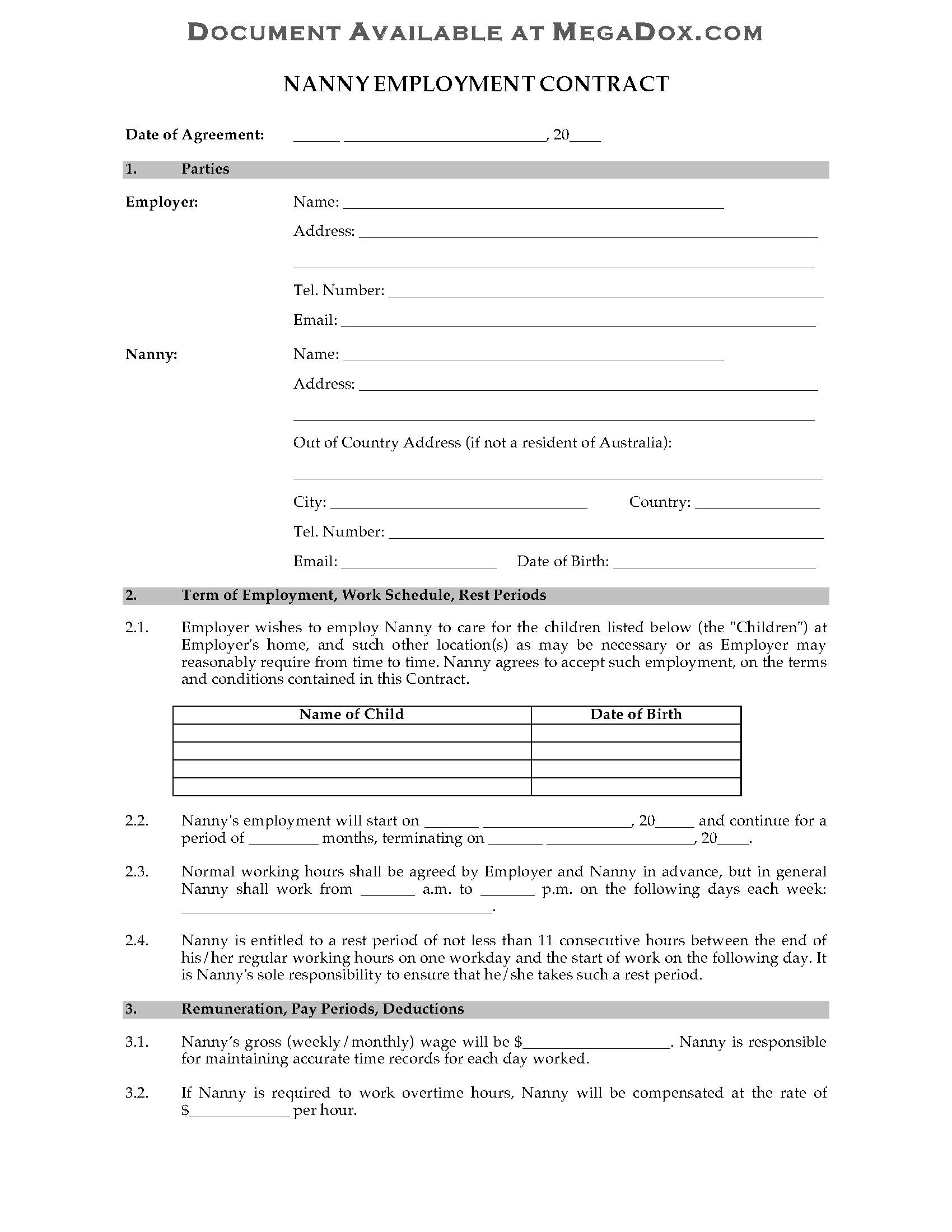 Australia Nanny Employment Contract For Nanny Contract Template