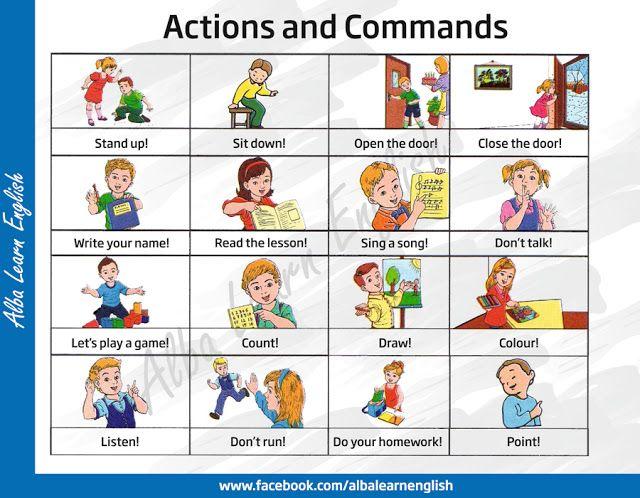 Enseñar inglés a niños fácil! COMANDOS INGLÉS Pinterest - action verbs list