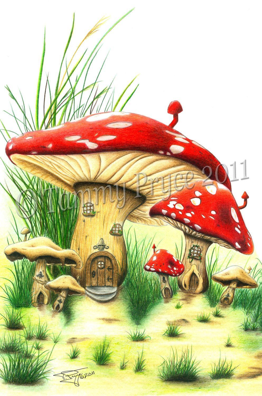 Charming Fantasy Art Village | Mushroom House Fantasy Fine Art Print By TammyPryce  On Etsy