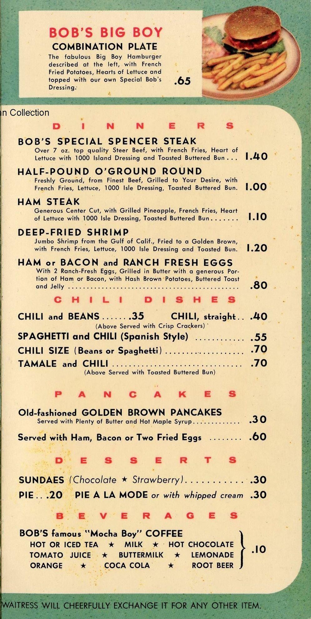 1955 Bob S Big Boy Menu Page 2 Bruce B Hermann Collection Www Bobs Net Vintage Menu Diner Menu Vintage Restaurant