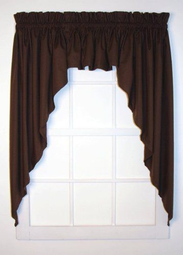 Dayita Solid Color Tailored 3 Piece Swags Valance Curtains Set 120 Inch By 45 Inch Black 1