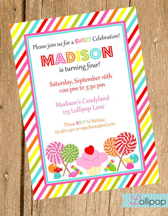 candyland printable birthday invitation sweet treats personalized birthday invite lollipops and candyland invite