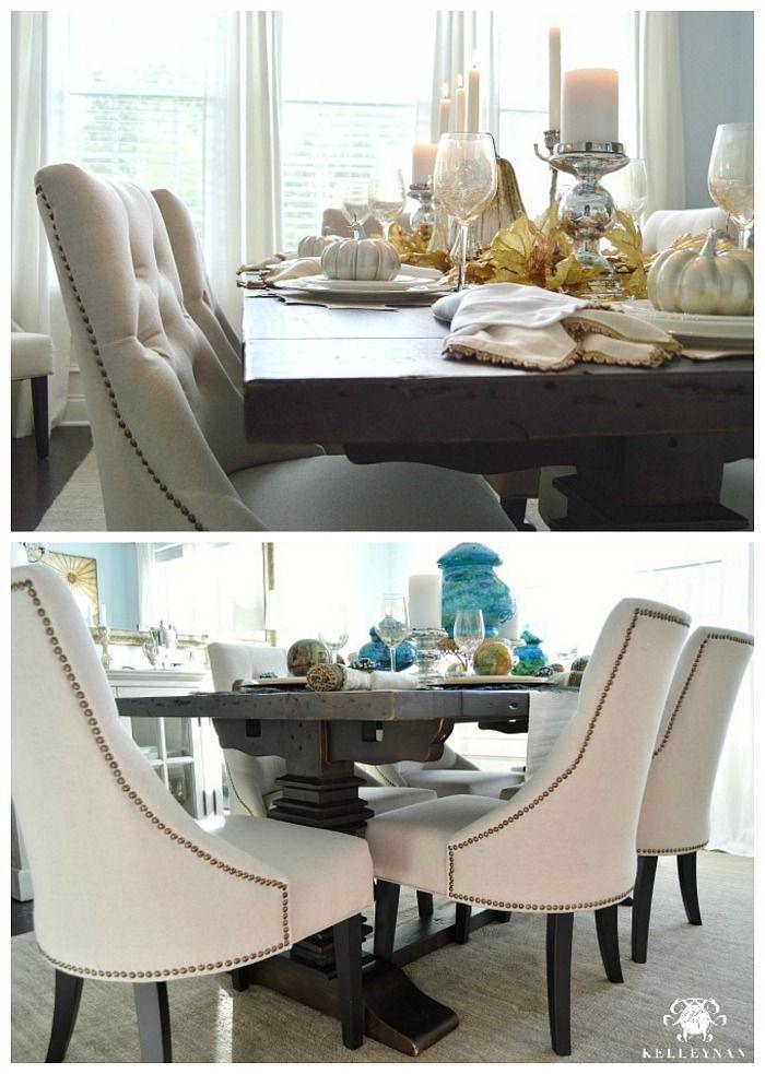 Attirant World Market Linen Lydia Chairs And Restoration Hardware Trestle Table
