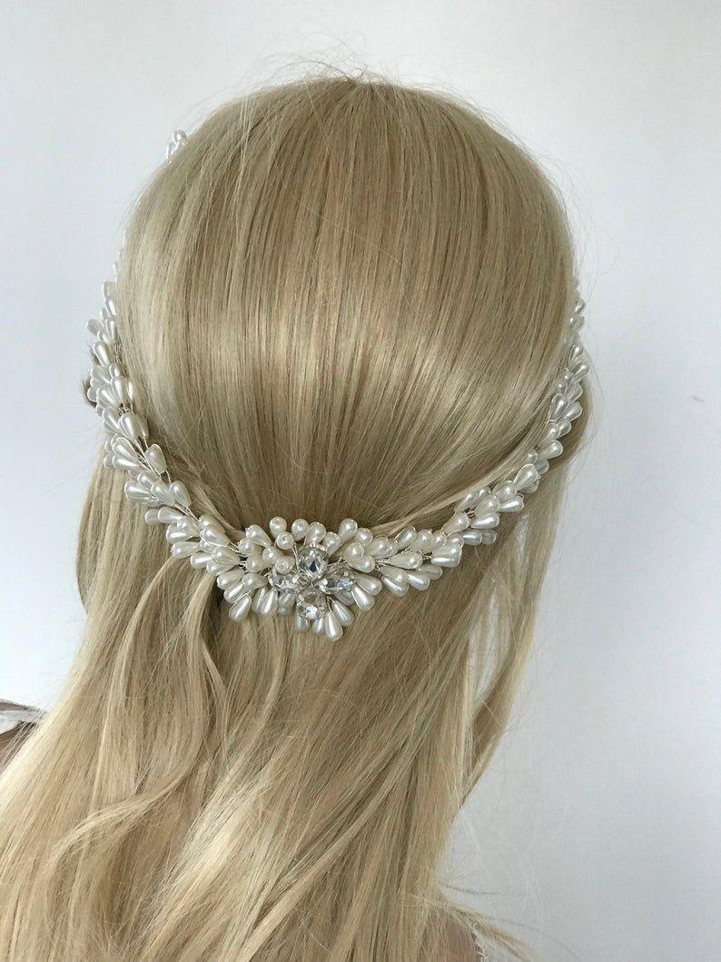 Express ship pearl bridal hair vine pearl bridal headband