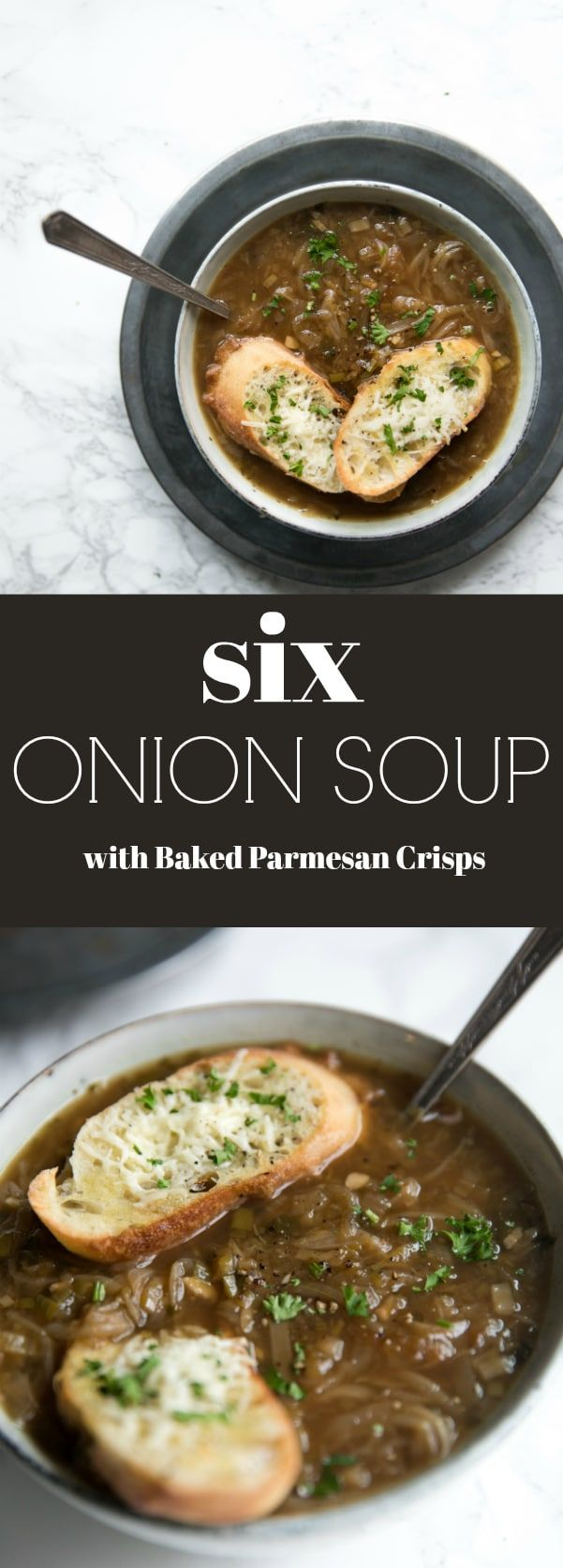 Easy 6 Onion Soup with Baked Parmesan Crisps Six kinds of onions cook together to make this comforting fragrant and delicious winter soup Topped with baked Parmesan crisp...