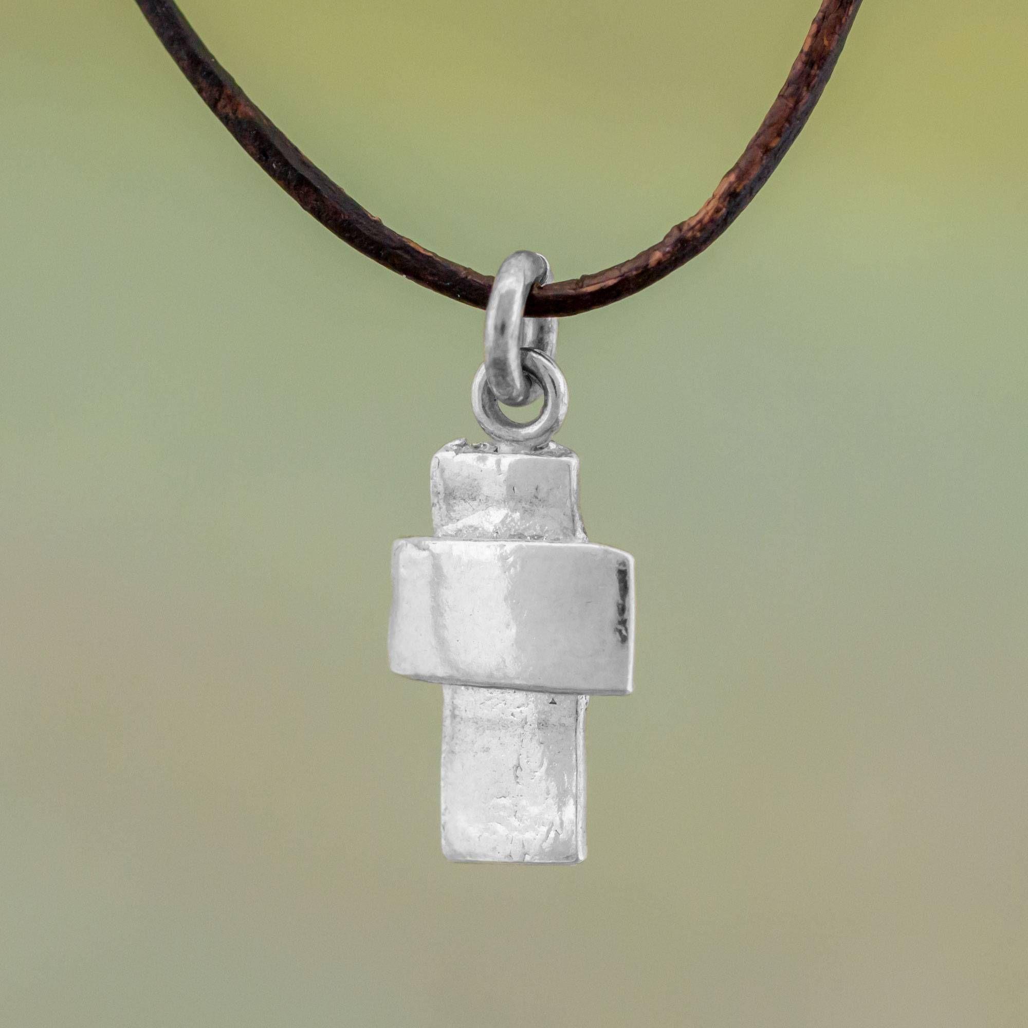 Guatemalan Fine Silver And Leather Cross Pendant Necklace, Faithful Dependance