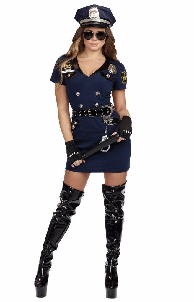 Hottie Police Gloves Badge Lady Police Officer Cop Women Law Costume Accessory
