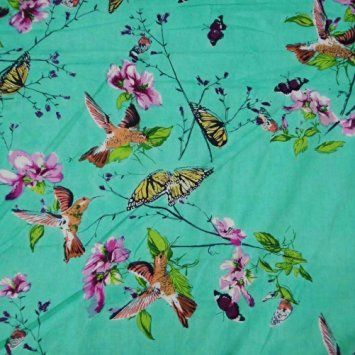 """White Cotton Fabric Dressmaking 42"""" Wide Floral Printed Sewing By The Metre"""