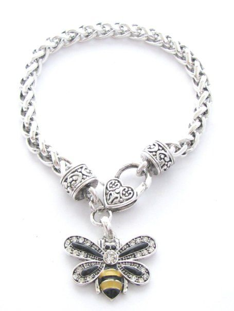 Ble Bee Clear Crystals Black Yellow Enamel Fashion