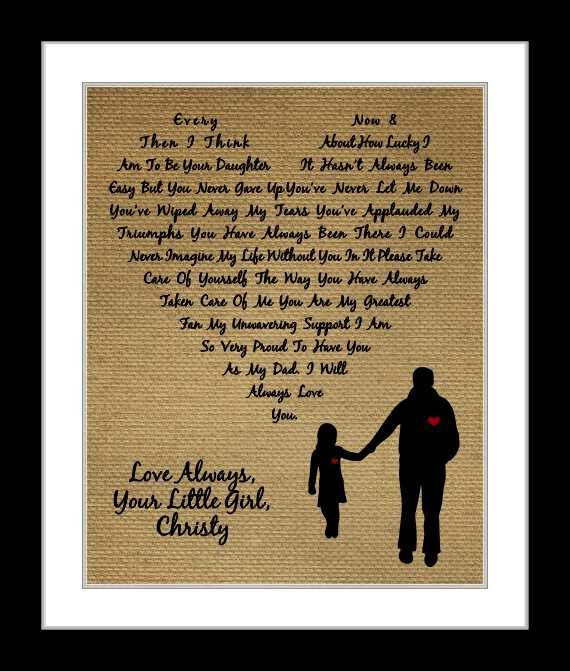 Personalized Christmas Gift For Dad Birthday Fathers Day Wedding Daughter Custom Poem Heart Father S Gifts