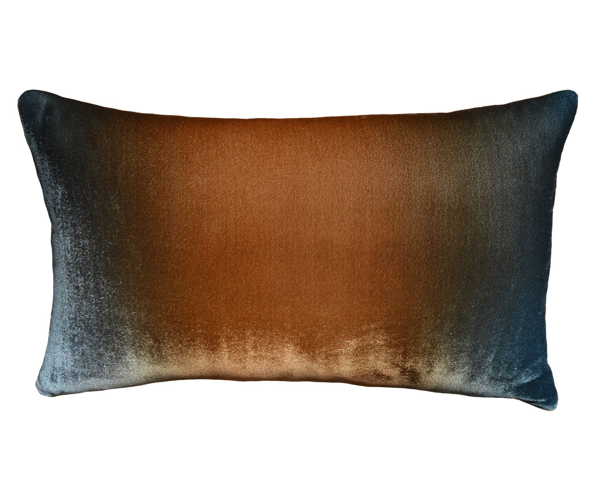 Ombre Velvet Pillow Cover 12x19 Hand Painted Silk Velvet Brown To Blue Ombre Velvet Lumbar Pillow For Couch Luxury Handmade By Fabric17 Velvet Pillow Covers Velvet Pillows Pillow Covers