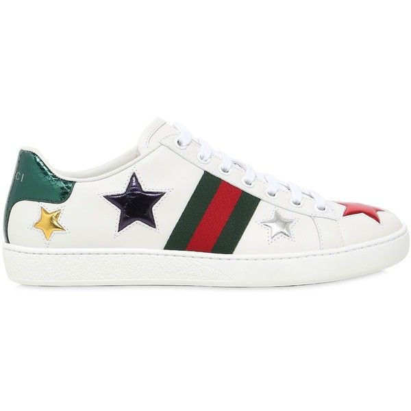 Gucci Women New Ace Stars Leather Sneakers 520 Liked On Polyvore Featuring Shoes Sneakers Leather Sneaker Star Sneakers Leather Sneakers Womens Sneakers