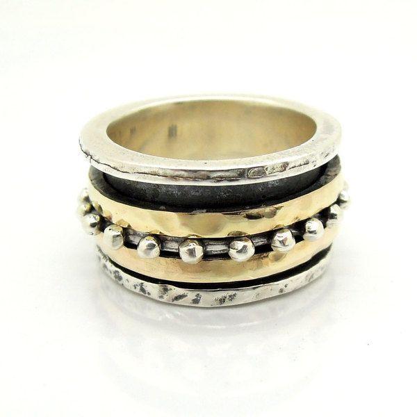 Eheringe - Breite Silber-und Gold Hochzeit Ring Spinner - ein Designerstück von HadasJewelry bei DaWanda