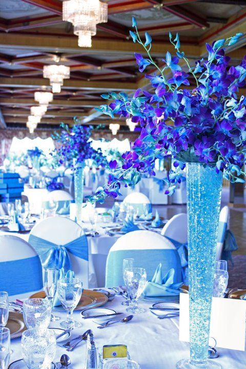 50 insanely over the top quinceanera centerpieces for Midnight blue centerpieces