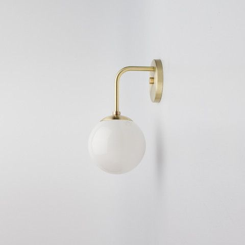 globe sconce allied maker 295 in brass white and other. Black Bedroom Furniture Sets. Home Design Ideas
