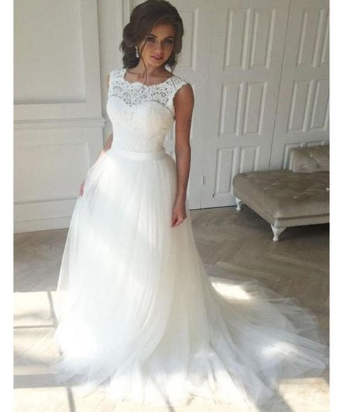 A Line Scoop Neckline Lace Sleeveless Long Wedding Dresses Wd079 Lace Top Wedding Dress Cheap Bridal Dresses Sweep Train Wedding Dress