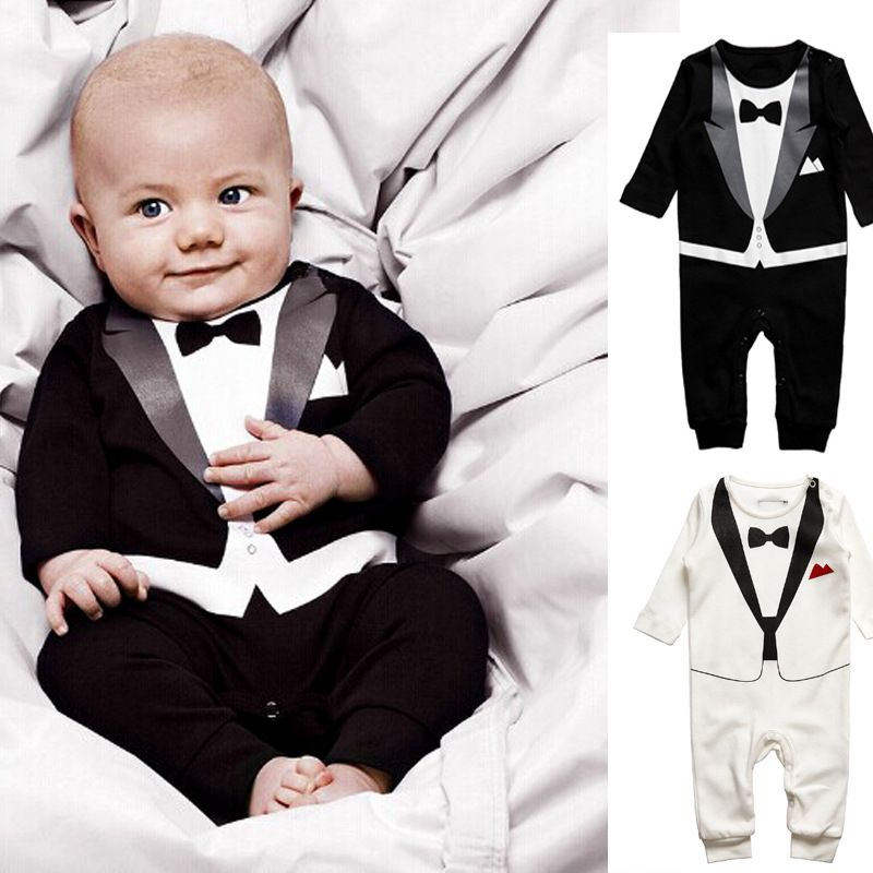 Click to Buy << Hot Retail Baby Boys Romper Suit Set Infant ...