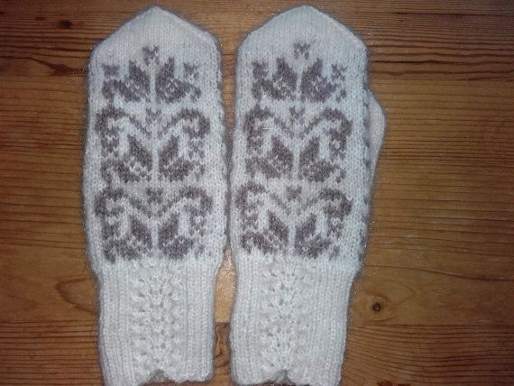 Fair isle Wool gloves , Women Winter Gloves, Warm Chunky Hand Knit ...