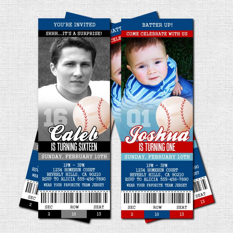 BASEBALL TICKET INVITATIONS Birthday Party Modern by nowanorris – Party Ticket Invitations