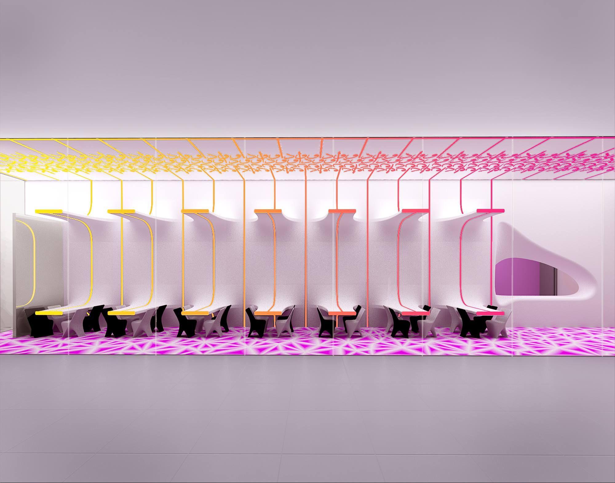 karim rashid initial concept for odd cafe doha quatar 2015 - Violet Cafe 2015
