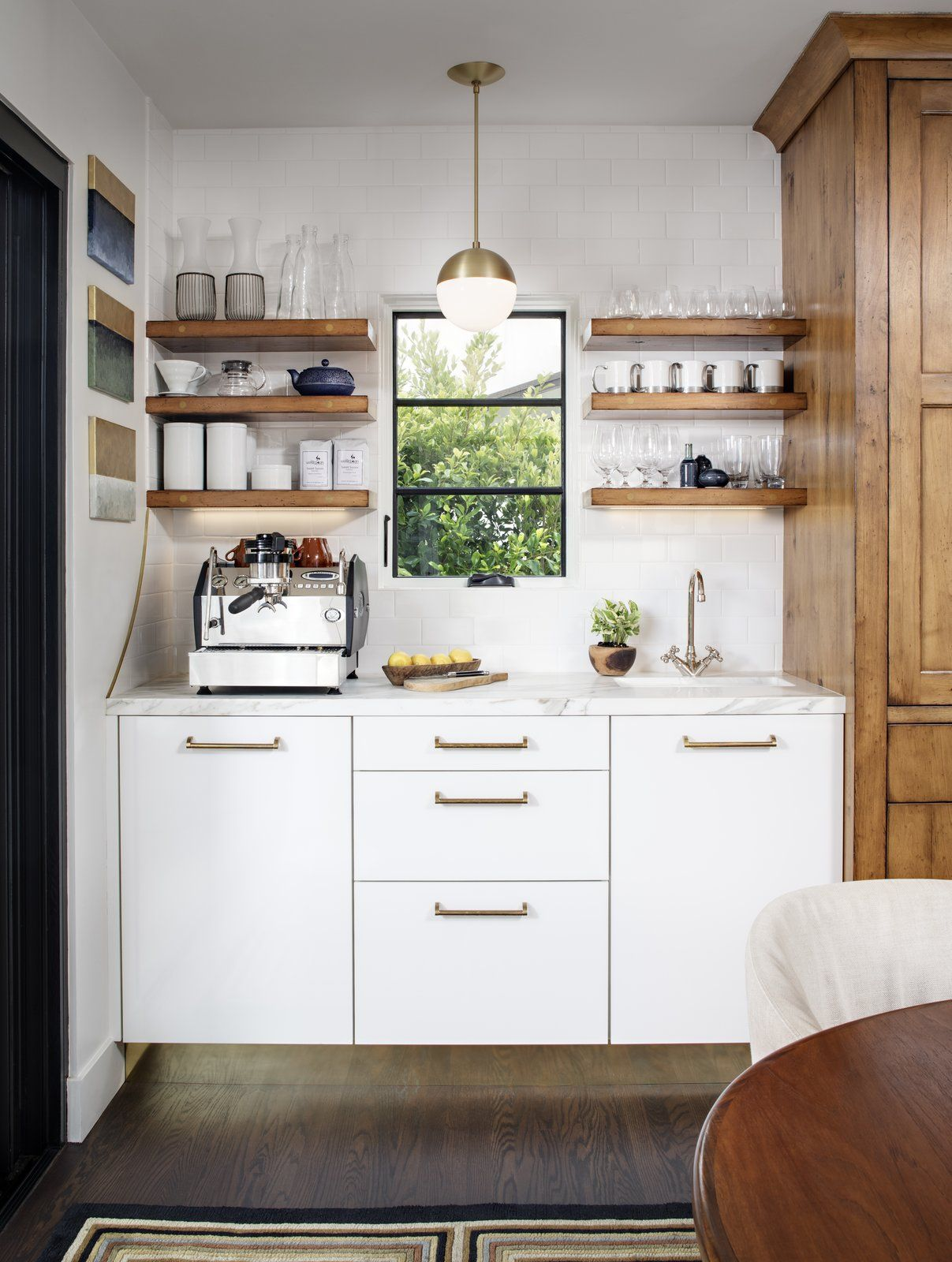 A Coffee Bar With Siematic Cabinets And Open Shelves With Bright Gold Handles And Toekick Modern Mixed Coffee Bars In Kitchen Eclectic Kitchen Urban Kitchen