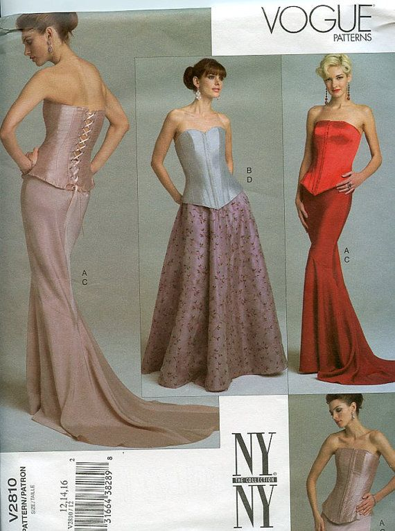 Vogue Pattern NY NY Collection Corset Top And Skirt Evening Dress Magnificent Vogue Evening Dress Patterns