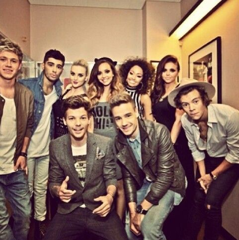 Little mix and one direction together!!(:>>>> basically the groomsmen and bridesmaids for the Zerrie wedding