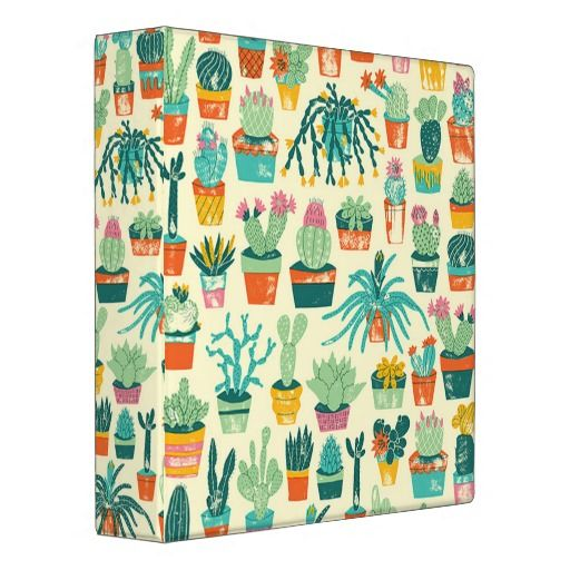 Colorful Cactus Flower Pattern 3 Ring Binder