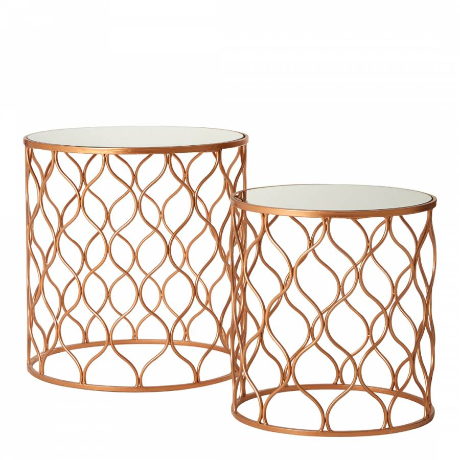 Fifty Five South Avantis Set Of 2 Tables Mirrored Glass Copper