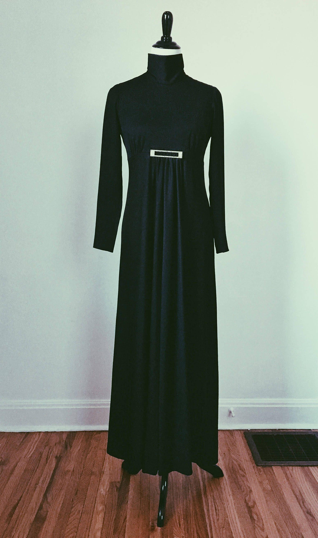 Vintage black maxi long sleeve turtleneck empire waist dress