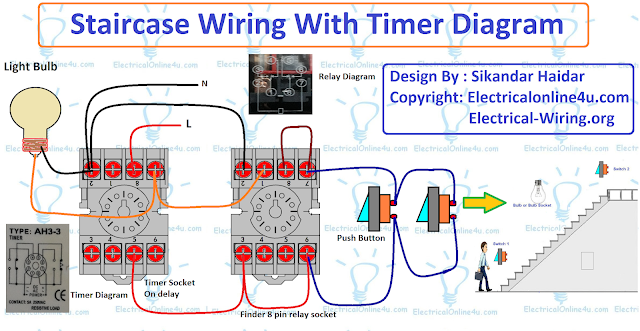 Staircase Timer Wiring Diagram Using On Delay Timer And Relay Electricidad Y Electronica Electricidad Electrica