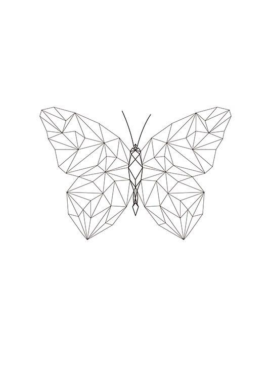 Snygg Tavla Med Fjaril I Geometriska Former